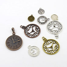 Load image into Gallery viewer, 30 Gram Tibetan Mixed Random Shapes & Sizes Charms Clock Pendants