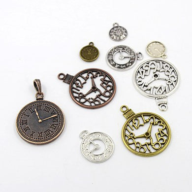 30 Gram Tibetan Mixed Random Shapes & Sizes Charms Clock Pendants