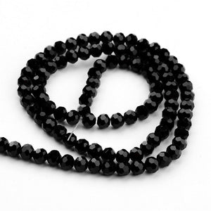 Faceted Glass Crystal 6mm Round Black 98+ per Strand