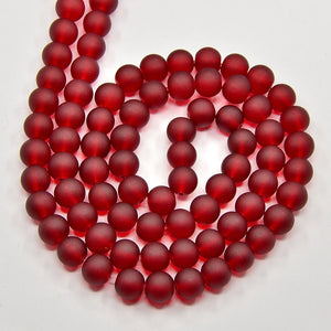 130+ Transparent Frosted Glass Beads, Dark Red,  6mm Round