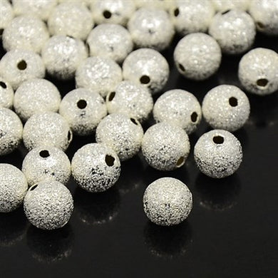 Pack Of 100+ Silver Plated Brass 6mm Stardust Twinkle Round Beads