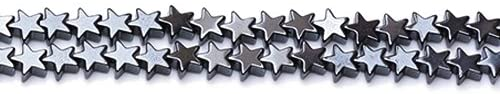 Strand Of 60+ Grey Hematite (Non Magnetic) 8mm Flat Star Beads