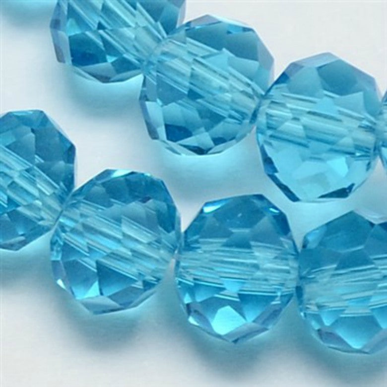 Sky Blue Glass Crystal Beads, Faceted, Abacus, Rondelle - 8 x 6mm