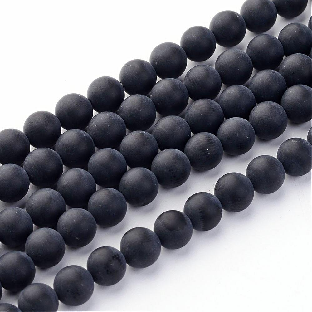 Grade A Frosted Black Agate Glass Loose Beads Round, 6mm Round