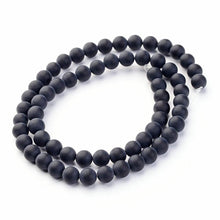 Load image into Gallery viewer, Grade A Frosted Black Agate Glass Loose Beads Round, 6mm Round
