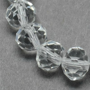 Clear Glass Crystal Beads, Faceted, Abacus, Rondelle - 8 x 6mm