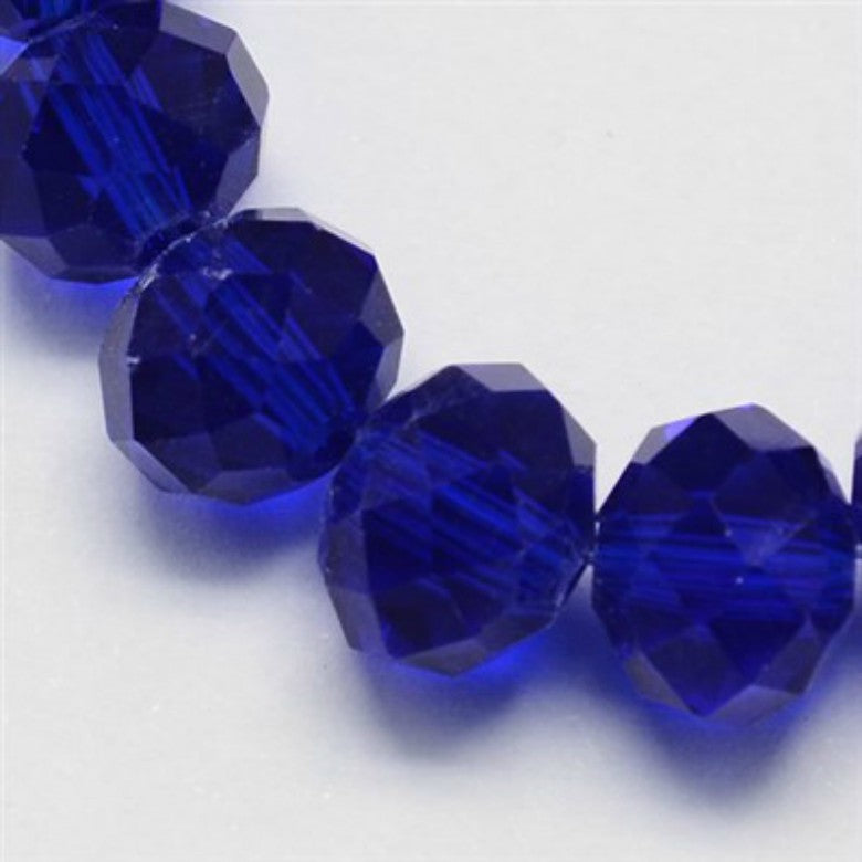 Dark Blue Glass Crystal Beads, Faceted, Abacus, Rondelle - 8 x 6mm