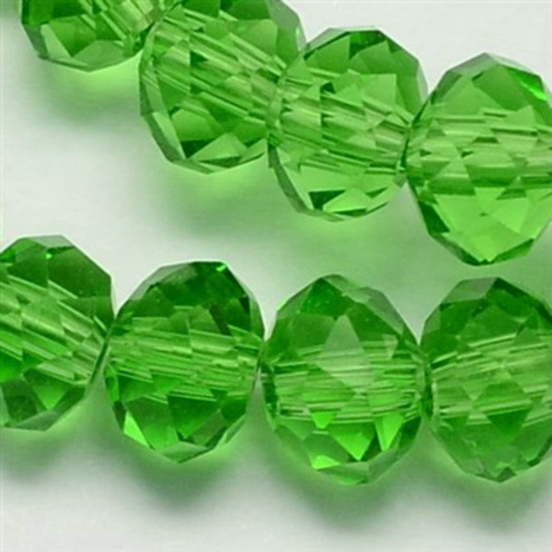 Green Glass Crystal Beads, Faceted, Abacus, Rondelle - 8 x 6mm
