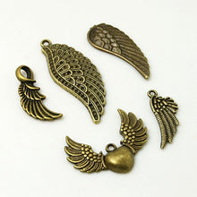 Load image into Gallery viewer, Pack 30 Grams Antique Bronze Tibetan Random Shapes & Sizes Charms (WING)