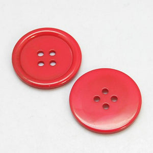 Packet of 20 x Red Resin 20mm Round Buttons (4 Hole)