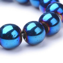 Load image into Gallery viewer, Strand 62+ Blue/Purple Hematite (Non Magnetic) 6mm Plain Round Beads