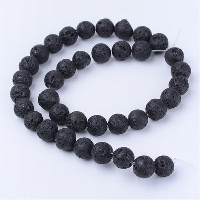 Strand Of 60+ Black/Brown Lava Rock 6mm Plain Round Beads