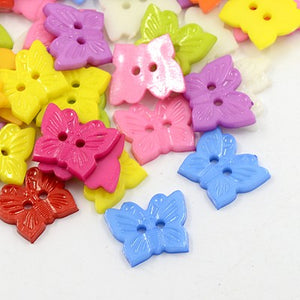 Pack of 25 x Mixed Acrylic 18mm Butterfly Buttons (2 Hole)