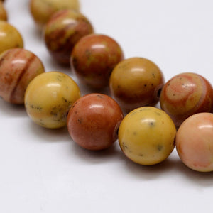 Natural Wood Lace Stone 6mm Loose Beads Round