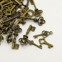 Load image into Gallery viewer, 30 Grams Antique Bronze Tibetan Random Shapes & Sizes Charms (Key)