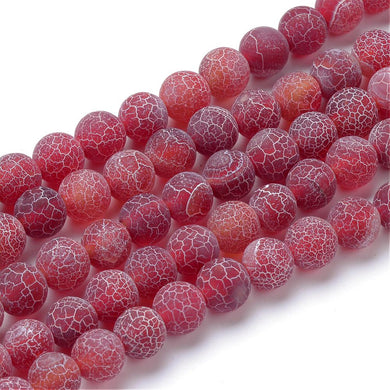 Strand Of 62+ Red Frosted Cracked Agate 6mm Plain Round Beads