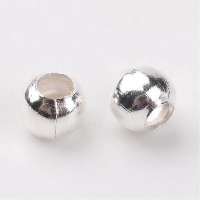 Packet Of 600+ Silver Plated Iron Round Spacer Beads 3mm
