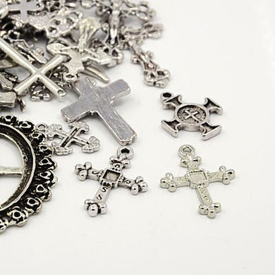 30 Grams Antique Silver Tibetan Random Shapes & Sizes Charms (Cross)