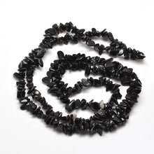 "Load image into Gallery viewer, 31"" Strand Natural Black Obsidian 5-8mm Chip Beads"