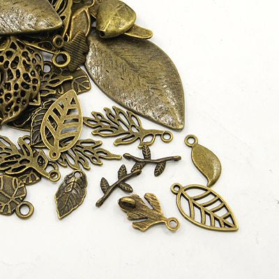 30 Gram Tibetan Antique Bronze Random Shapes & Sizes Charms Leaf Pendants