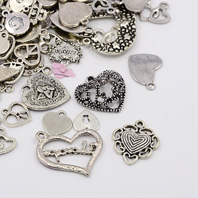 30 Grams Antique Silver Tibetan Random Shapes & Sizes HEART Charms