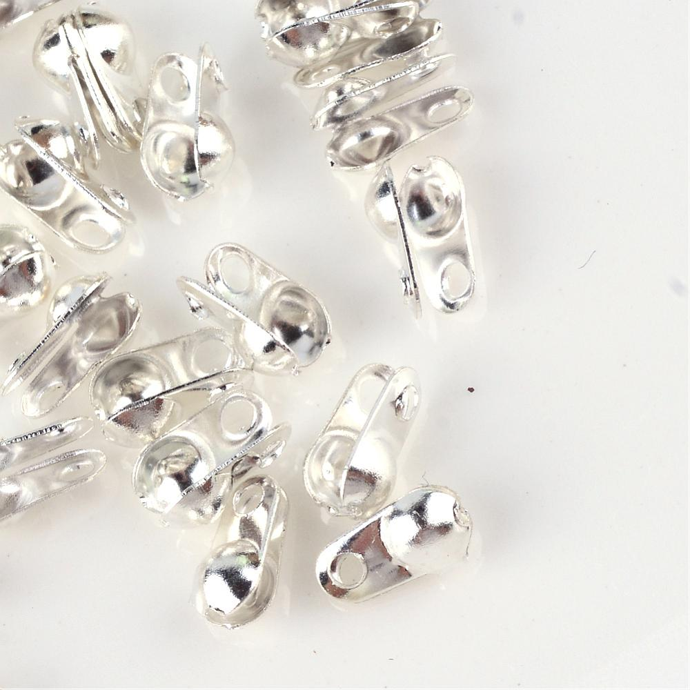 200 Pcs Silver 8x6x4mm Clamshell Iron Bead Tips End