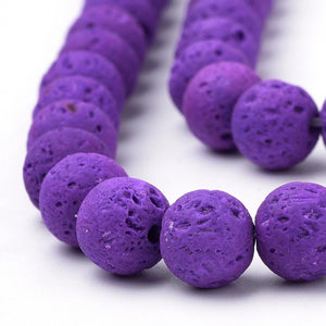 Natural Purple  Lava Beads Loose Beads Round 6mm