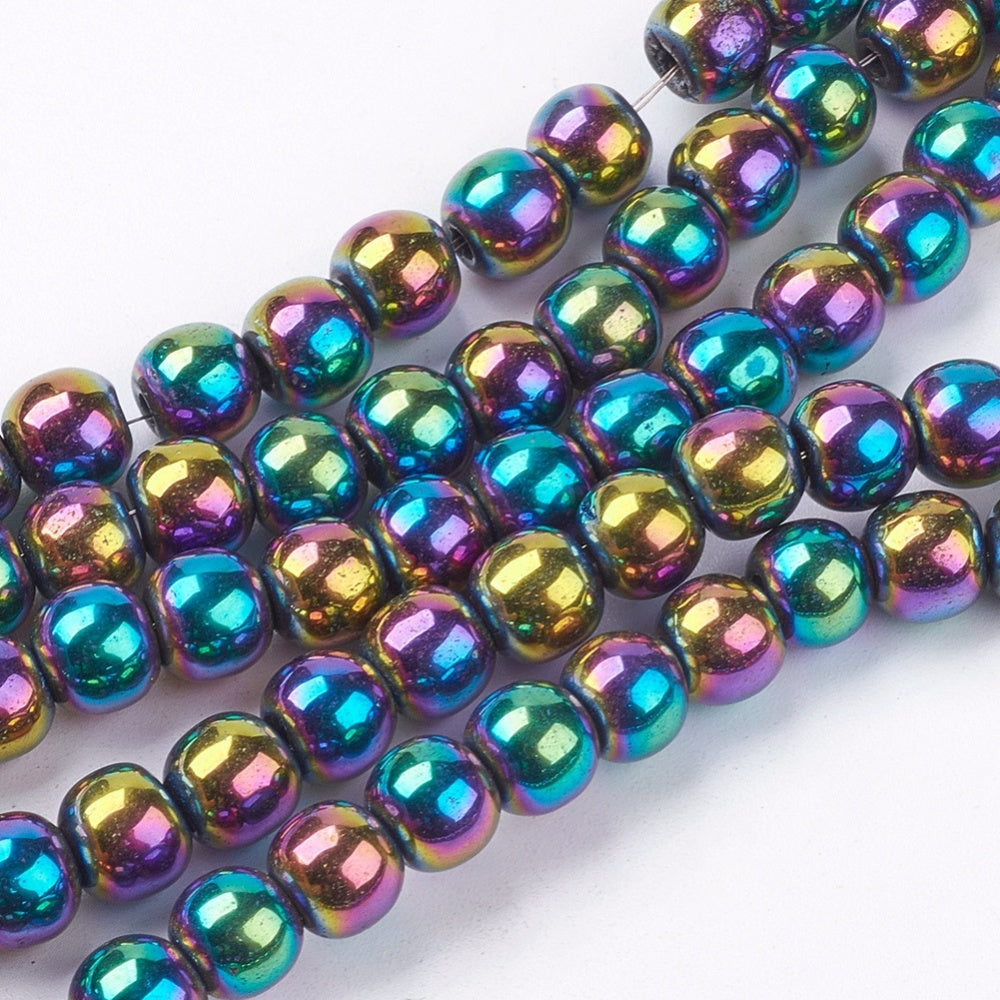 Strand Of 62+ Rainbow Hematite (Non Magnetic) 6mm Plain Round Beads