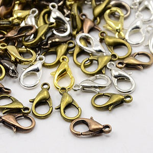 Packet Of 50 x Mixed Plated Strong Quality Lobster Clasps 10mm x 6mm