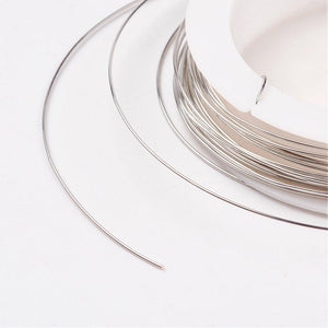 0.6mm Copper Jewellery Wire, Silver Colour, 7 Metre Roll