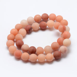 Strand of 60+ Pink Aventurine 6mm Frosted Round Beads