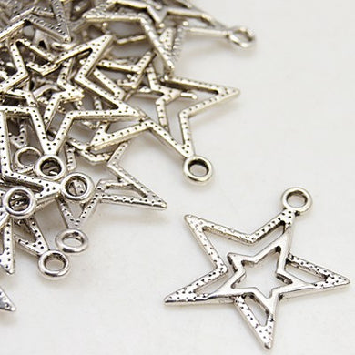 Pack of 25 Tibetan Silver 23mm Star Pendants Charms
