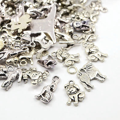 30 Grams Antique Silver Tibetan Random Shapes & Sizes Mixed Dog Charms