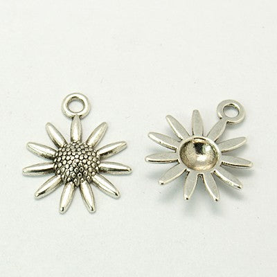Pack of 10 Tibetan Style Antique Silver 22mm Sunflower Charms