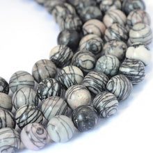Load image into Gallery viewer, Natural Black Silk Stone/Netsone 8mm Round Beads