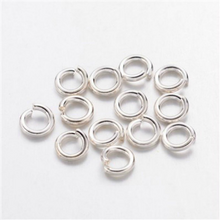 Load image into Gallery viewer, 4mm  x 0.8mm Brass Open Unsoldered  Silver Plated Jump Rings