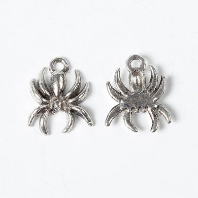 Pack of 10 Tibetan Style Antique Silver 18mm Spider Charms