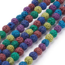 Load image into Gallery viewer, Mixed-Colour Lava Rock Beads Plain Round 8mm Dyed Strand of 40+