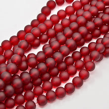 Load image into Gallery viewer, 130+ Transparent Frosted Glass Beads, Dark Red,  6mm Round