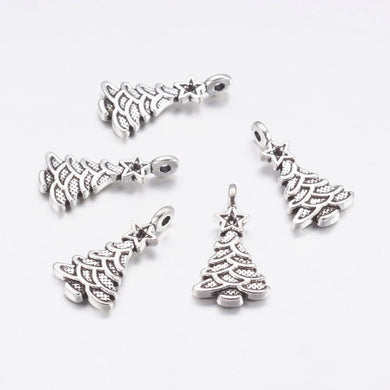 Pack of 10 Tibetan Style Antique Silver Christmas Tree Charms