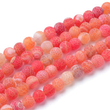 Load image into Gallery viewer, Strand Of 62+ Orange Frosted Cracked Agate 6mm Plain Round Beads