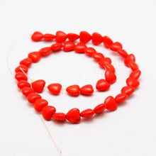 "Load image into Gallery viewer, 15"" Strand Synthetic Red Turquoise 10 x 10mm Heart Beads"