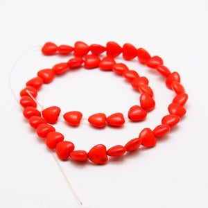 "15"" Strand Synthetic Red Turquoise 10 x 10mm Heart Beads"