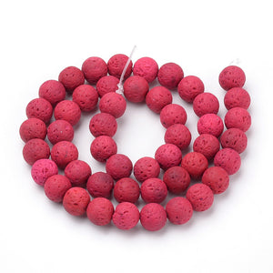 Strand 45+ Cerise Lava Rock Stone 8mm Dyed Plain Round Beads