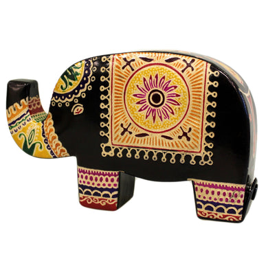 Leather Money Box - Med Black Elephant