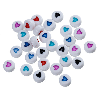 Pack of 100 Round White Heart Beads - Mixed Colours