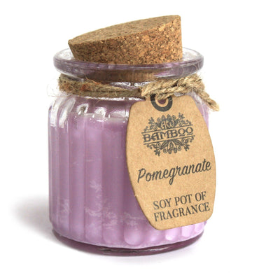 Soy Pot Of Fragrance Glass Jar Candle - Pomegranate
