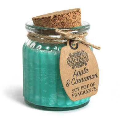 Soy Pot Of Fragrance Glass Jar Candle - Apple & Cinnamon