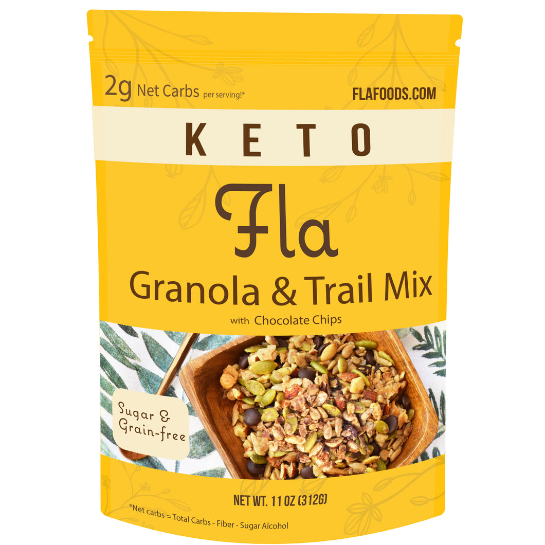 Fla Keto Low-Carb Granola & Trail Mix (Chocolate Chip) - 11oz bag (11 servings)