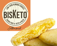 Load image into Gallery viewer, BisKeto Almond - Low-Carb Keto Cookies - Box with 12 (6 packs of 2)